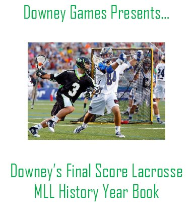 Downey's Final Score Lacrosse History of the MLL Year Book